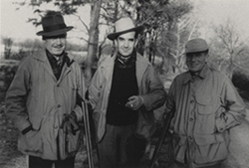 Edward R. Murrow pictured with brothers Lacey (left) and Dewey (right) at Quaker Hill, Pawling, 1949